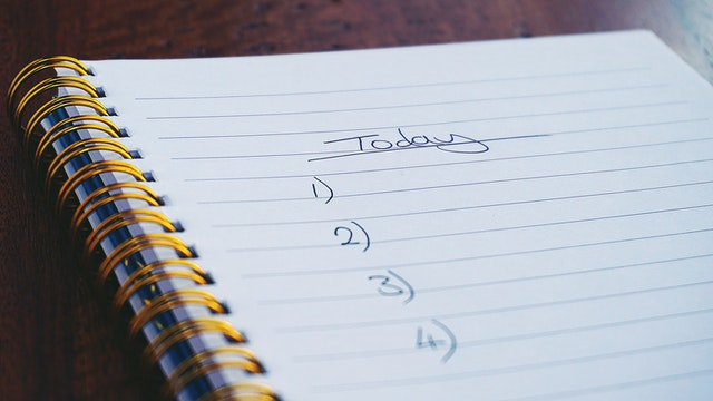 a notebook with a list of today's tasks
