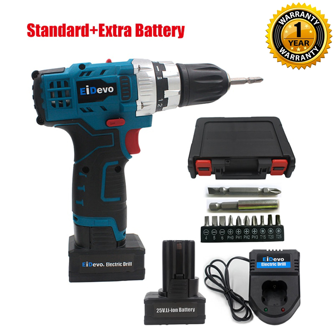AmiciTools 25V Cordless Multi-Functional Electric Screwdriver Drill with Adjustable Torque, Speed and 2 Li-Ion Rechargeable Batteries