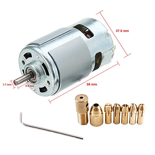 AmiciTools DIY kit For 7 Pcs Hand Drill Kit Chuck and Drill Collet (0.5mm to 3.0mm) with 12v PCB Motor Drill